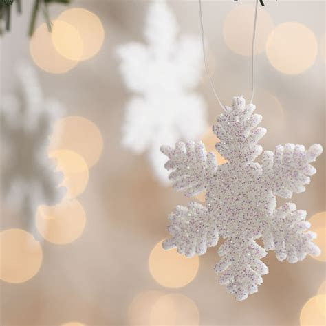 "2"" White Glitter Snowflake Ornaments   Christmas Ornaments"