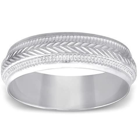 Pompeii3: 6mm Mens 10K White Gold Brushed Hand Carved