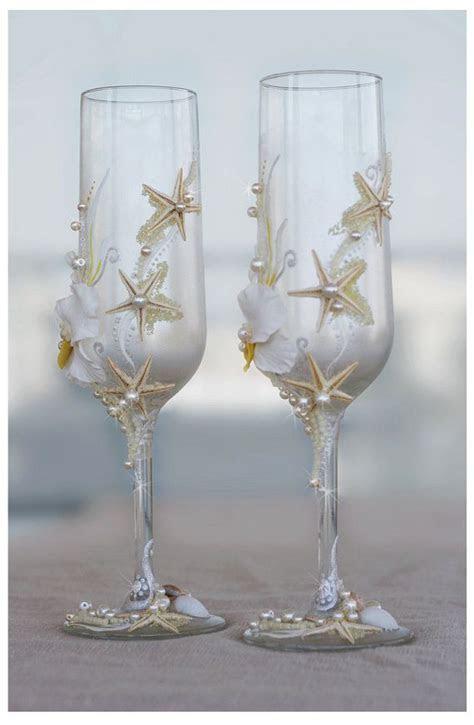 Pearl Wedding Glasses. Wedding champagne glasses hand