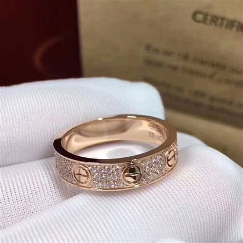 Cartier Love Diamond Paved rose Gold Wedding Band Ring