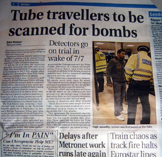 Tube Travellers Scanned for Bombs - Evening Standard Headline