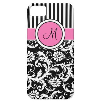 Monogram Pink Black White Striped Damask iPhone 5 iPhone 5 Cover