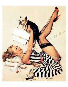 vintage pin up com filhote de cachorro