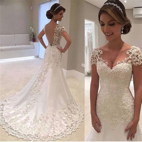Short Sleeves Lace Bridal Dresses,Lace Suppliques Bridal