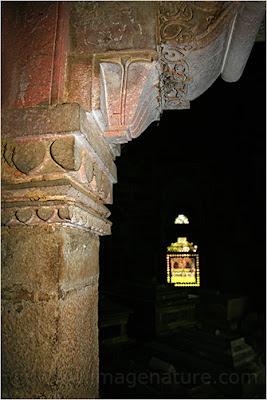 Ornamental column inside Humayun's Tomb complex in Delhi, India