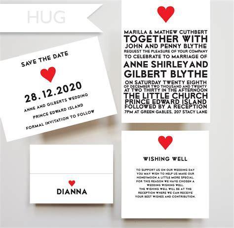 Hug invitation, wishing well card, placecard, save the