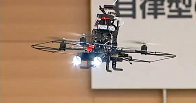 El drone de seguridad de Secom mide unos 60 x 60 cm.