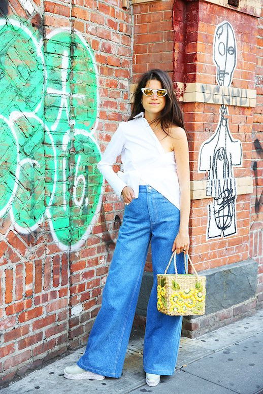 Le Fashion Blog Redone Button Down Wide Leg Jeans Straw Tote Espadrille Shoe Via Man Repeller