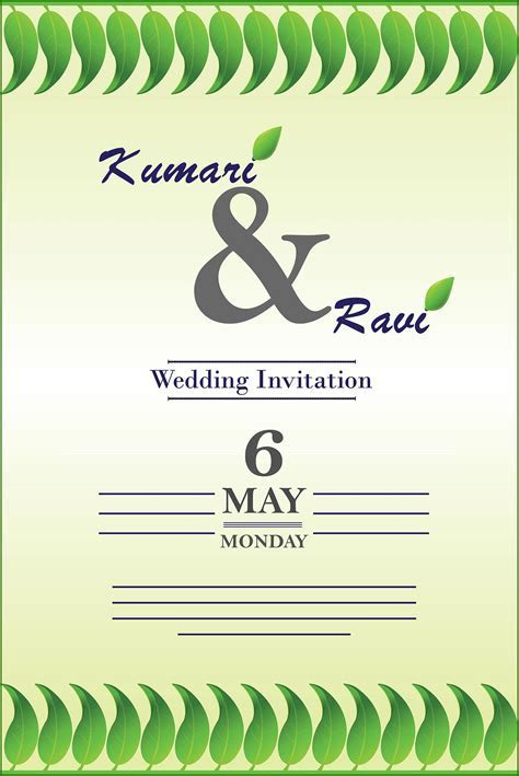 Wedding Invitation Card Cover Vector   All Design Creative