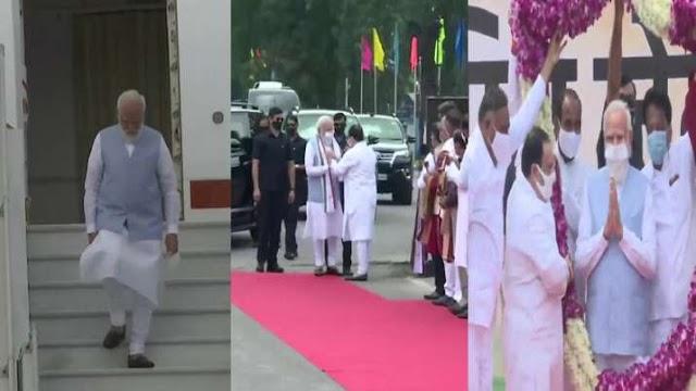 प्रधानमंत्री नरेंद्र मोदी दिल्ली पहुंचे, भाजपा कार्यकर्ताओं ने किया भव्य स्वागत