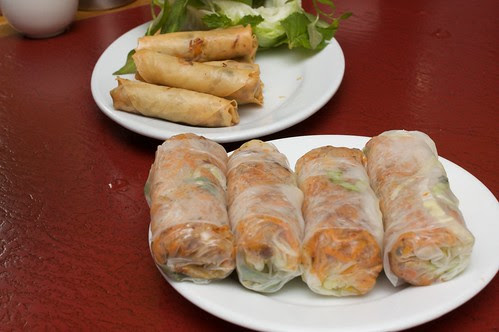 rice paper rolls and spring rolls