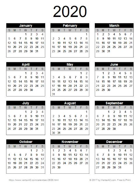 Template 2020 Calendar Uk Printable A4