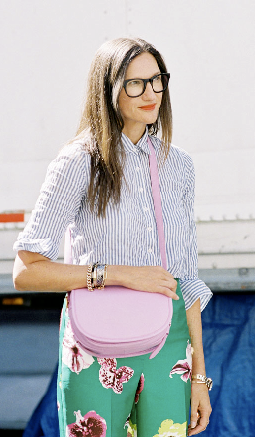 LE FASHION BLOG STREET STYLE JENNA LYONS NYFW NEW YORK FASHION WEEK SS 2013 STRIPE BUTTON UP SHIRT BLACK FRAME EYEGLASSES RED LIPS LIPSTICK  PASTEL PINK CROSSBODY BAG GREEN FLORAL PRINT J CREW PANTS TROUSERS WATCH BRACELETS VIA VANESSA JACKMAN photo LEFASHIONBLOGSTREETSTYLEJENNALYONSNYFWNEWYORKFASHIONWEEKSS2013STRIPEBUTTONUPSHIRTBLACKFRAMEEYEGLASSESREDLIPSLIPSTICKPASTELPINKCROSSBODYB.png