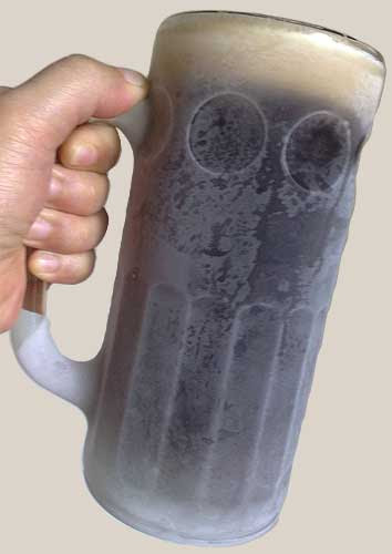 A frosted mug of root beer