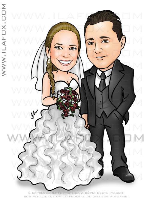 caricatura casal, noivos, corpo inteiro, colorido, noivinhos Thais e Cleiton, caricatura para casamento, by ila fox
