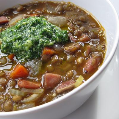 lentil soup with pesto