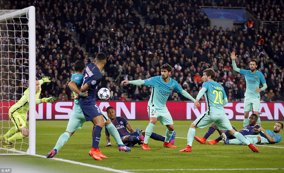 A combination of Ter Stegen and Andre Gomes had to keep out an effort from Blaise Matuidi before half-time