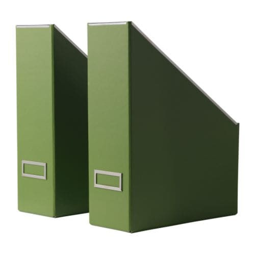 """KASSETT Magazine file, green Width: 4 """" Depth: 9 ¾ """" Height: 12 ½ """" Package quantity: 2 pack  Width: 10 cm Depth: 25 cm Height: 32 cm Package quantity: 2 pack"""