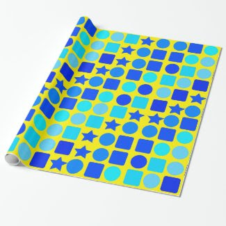Blue Stars, Circles 'n' Squares Wrapping Paper