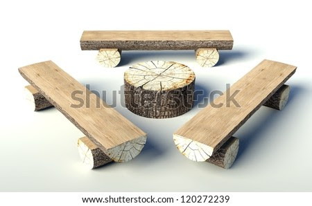 Wooden Bench And Table Made Of Tree Trunks, Objects Stock Photo