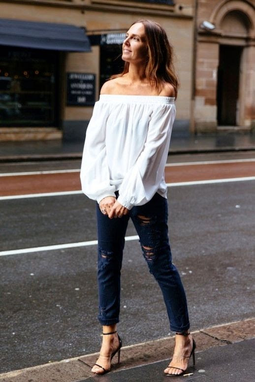21 Le Fashion 31 Stylish Ways To Wear An Off The Shoulder Look White Top Ripped Black Jeans They All Hate Us