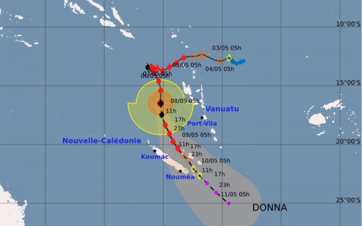 Cyclone Donna heading south