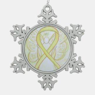 Yellow Awareness Ribbon Angel Customized Ornament