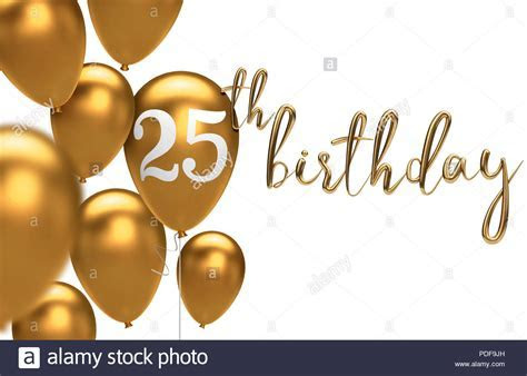 Gold Happy 25th birthday balloon greeting background. 3D