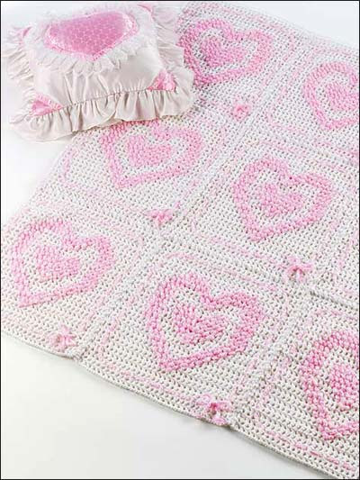 Hearts in Hearts Baby Afghan & Bib