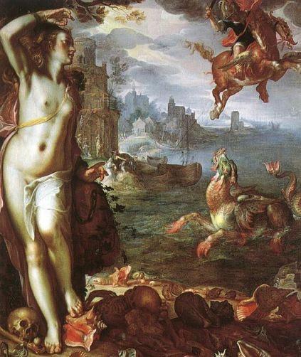 Ο Περσέας η Ανδρομέδα και ο δράκων πίνακας του Ολλανδού ζωγράφου Joachim Wtewael (1566-1638) πηγή theoi.com