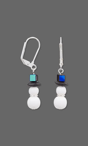 Jewelry Design Snowman Earrings Made Using Czech Glass Druk Beads, Celestial Crystal® Beads and Apoxie® Sculptand Beads