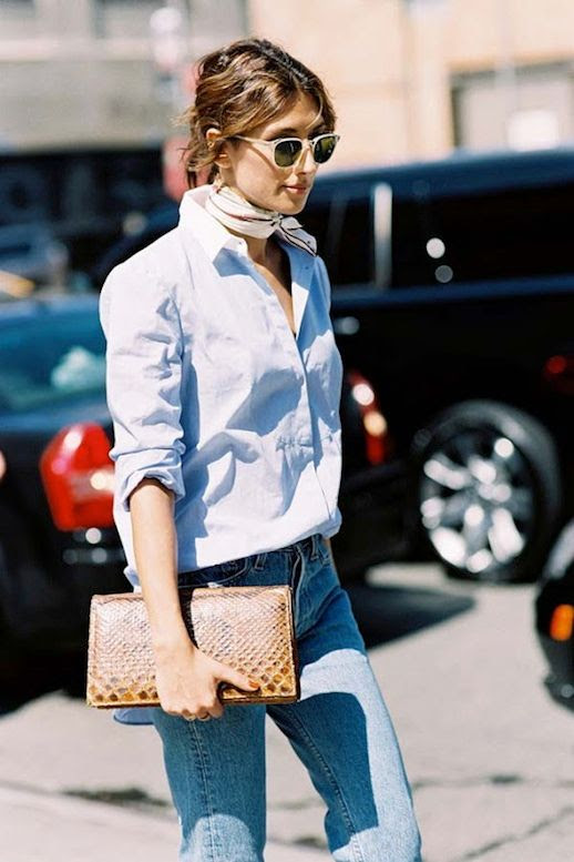 Le Fashion Blog Nyfw Street Style Printed Neck Scarf Clear Sunglasses Blue Button Down Shirt With Contrast White Collar Jeans Python Clutch Via Vanessa Jackman