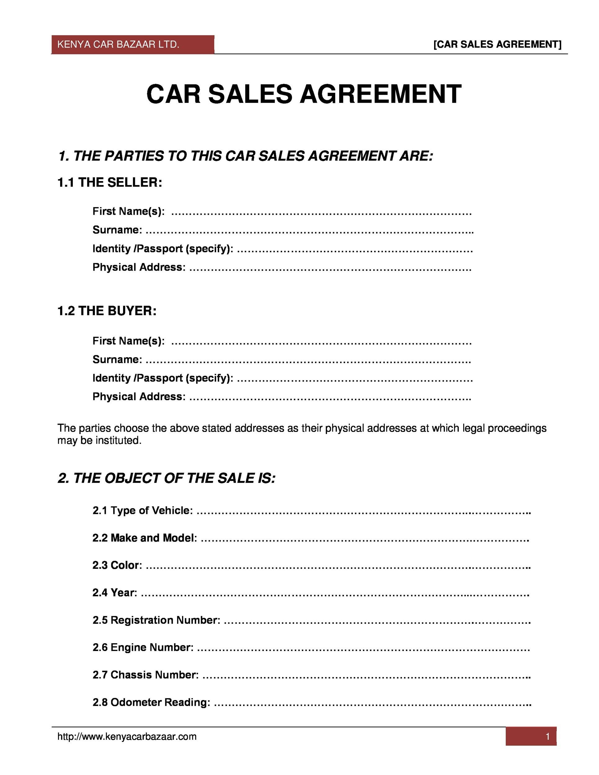 Sample Deed Of Sale Car Vehicle   Car Sale and Rentals