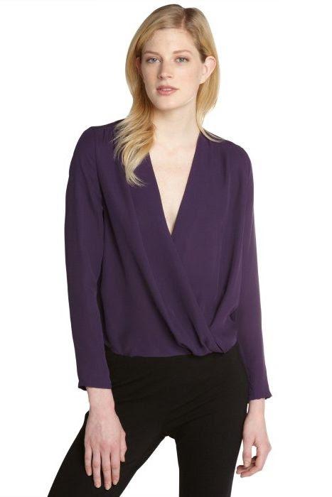 Halston Heritage Long Sleeve Silk Blouse