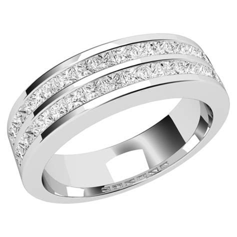 Double row diamond set ladies wedding ring in 18ct white