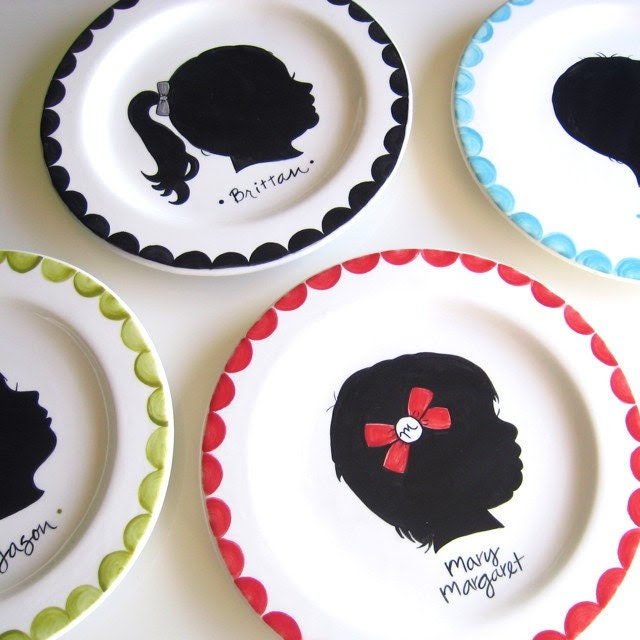 Custom Silhouette Plate- Small Plate Hand Painted