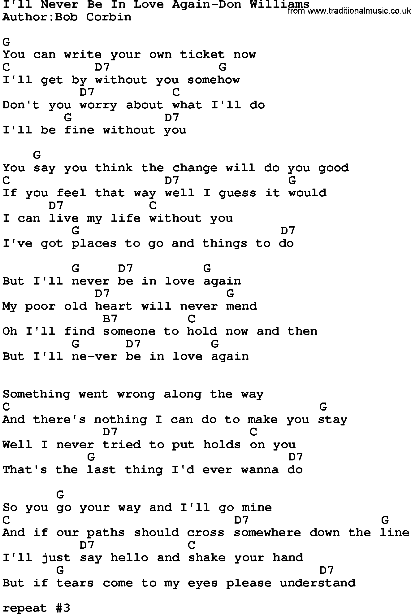 Country Musicill Never Be In Love Again Don Williams Lyrics And Chords