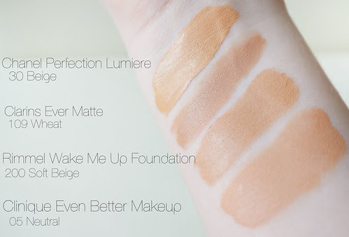 Foundation sample swatches chanel clarins