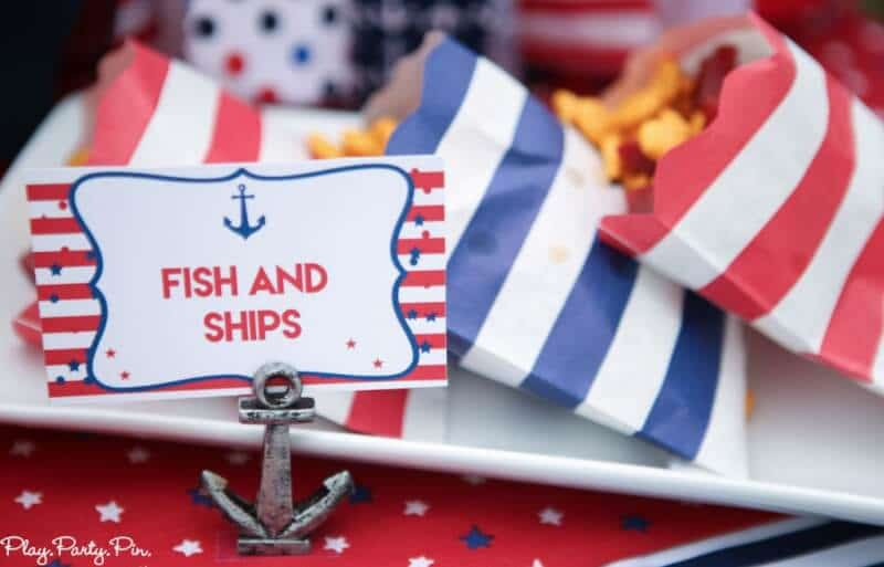 Fish and ships and tons of other nautical party ideas and 4th of July party ideas