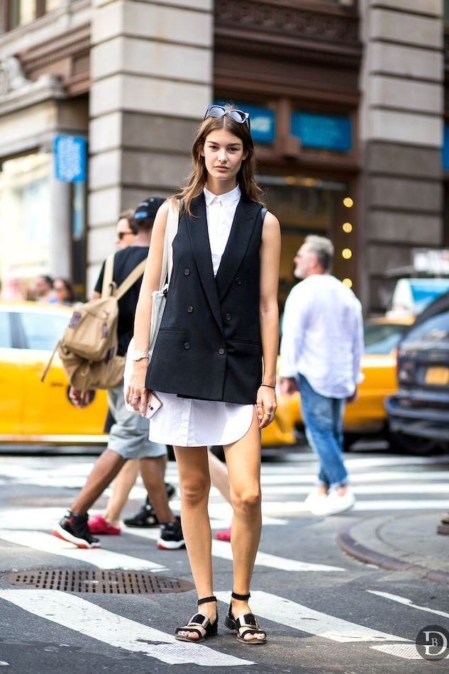 Le Fashion Blog Model Off Duty Street Style Ophelie Guillermand Summer Workwear Work Office Sleeveless Blazer Vest Shirtdress Buckle Sandals Via The Urban Spotter