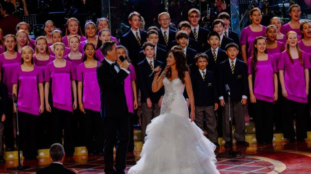 Marina Prior and David Hobson perform at the 2014 Carols By Candlelight event.