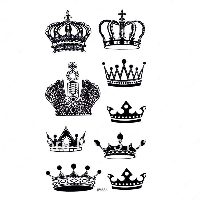 Black And Grey Crown Tattoos Designs