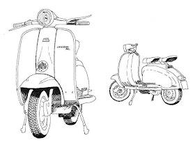 Sketsa Motor Hitam Putih