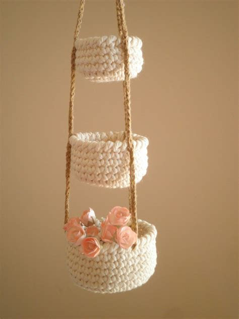 tier  crochet baskets mini hanging baskets