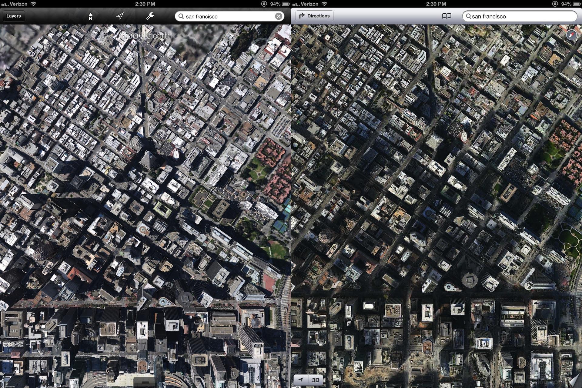 Apples 3d Maps Look Much Better Than Googles