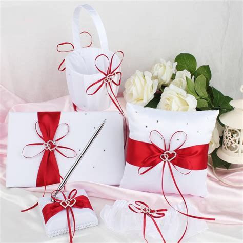 5Pcs/set Satin Wedding Ring Pillow and Flower Basket