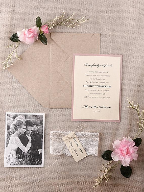 Wedding Thank You Card Rustic Thank You Cards Pink Grey Wedding