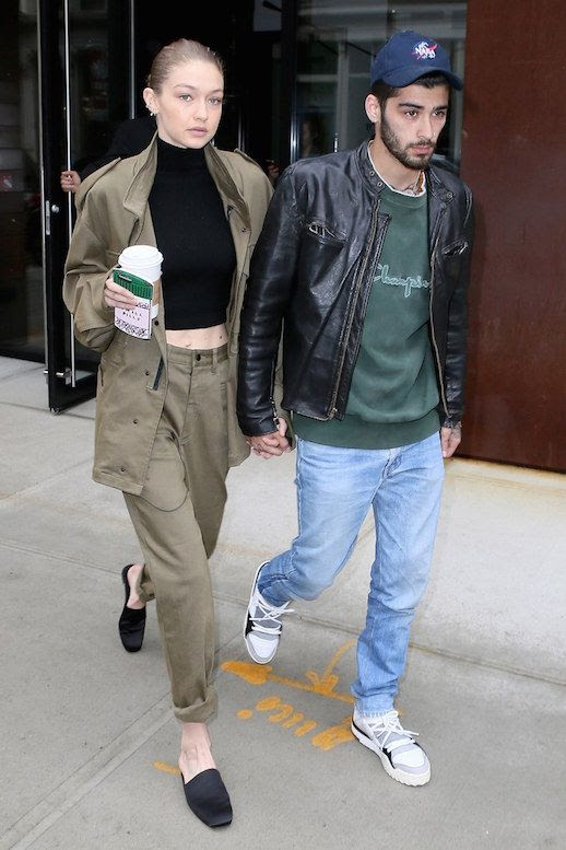 Le Fashion Blog Gigi Hadid Military Inspired Jacket And Cargo Pants Crop Top Black Slide On Mules Via Vogue