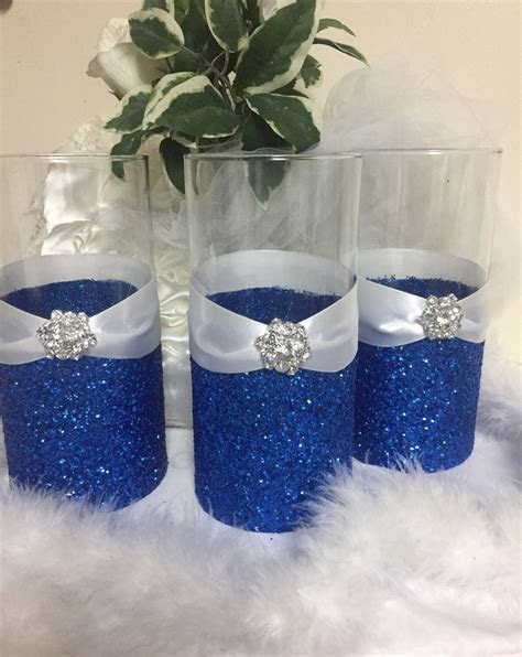 Wedding centerpiece, glitter vase, bridal bouquet holder