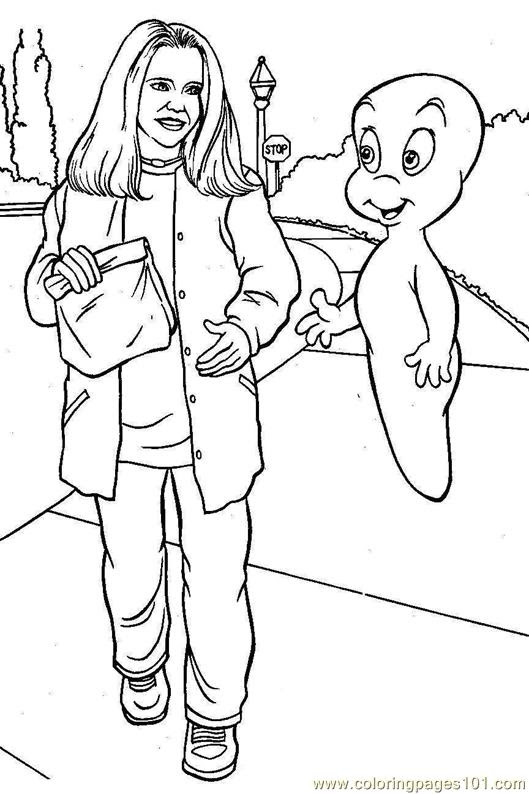 Download Coloring Pages Casper talking to a man (Cartoons > Others ...
